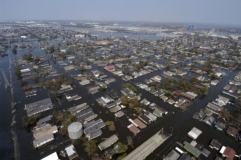 city flooded causing water damage